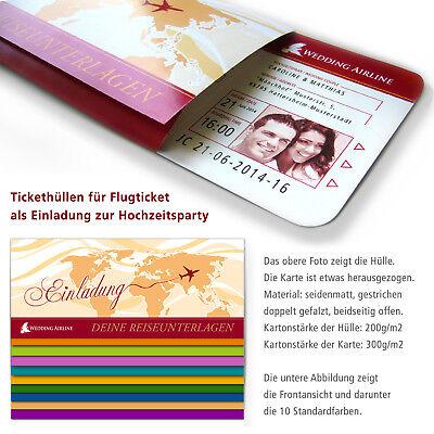 Tickethüllen für die Einladungskarten zur Hochzeit als Flugticket, Boarding Pass