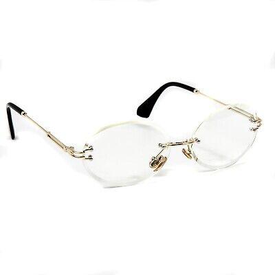 Round Cut Clear Lens Gold Frame Mens Vintage Retro Style Hip Hop Eye Glasses