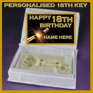 18TH  HAPPY BIRTHDAY PERSONALISED GLASS KEY IN SATIN BOOK  GIFT EIGHTEENTH CARD