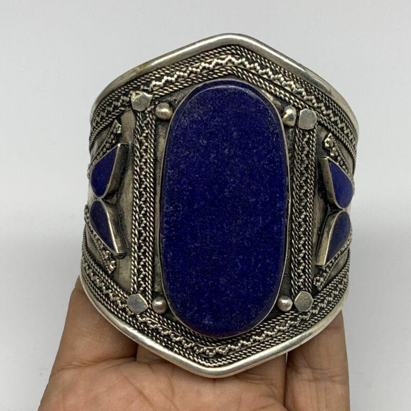 "61g, Vintage Reproduced Afghan Turkmen Lapis Lazuli Cuff Bracelet 3.2"", B13288"