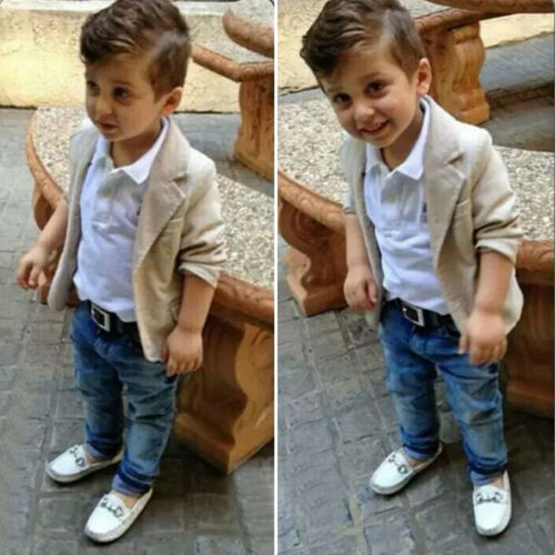 3Pcs Toddler Baby Boy Kids Gentleman Blazer Coat T-shirt Den