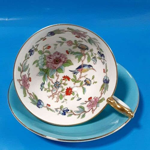 Aynsley Fine Bone China Pembroke Turquoise England Tea Cup Saucer Flowers Footed
