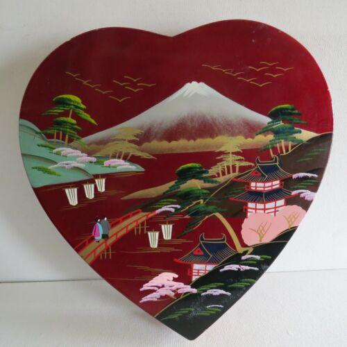 VTG RED Heart BOX~JAPAN Enameled lacquered VILLAGE~VELVET LINED