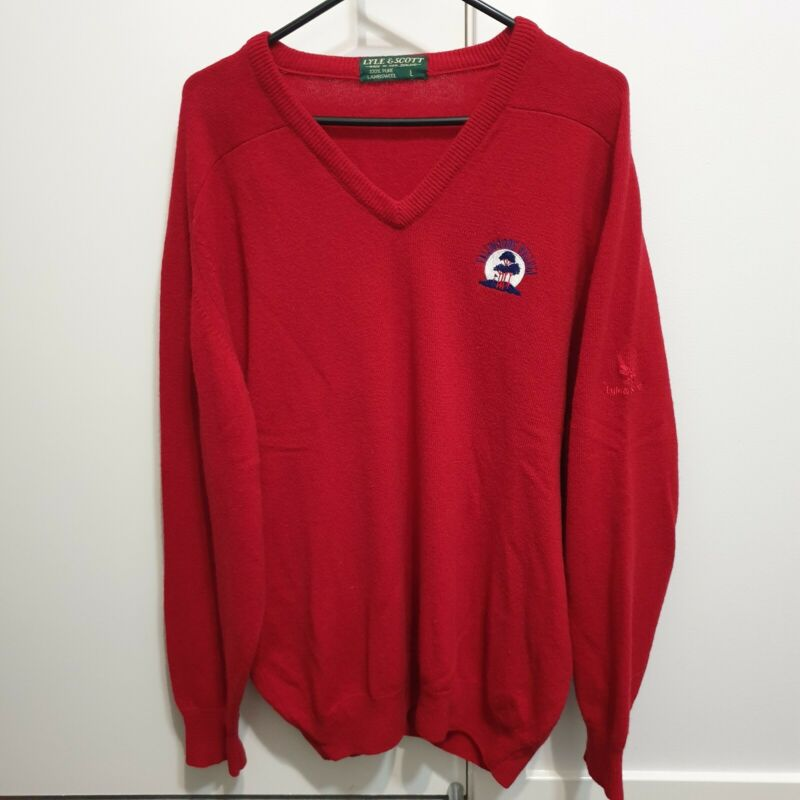 Vintage Lyle and Scott Tallwoods Village Red Lambswool Sweater Size Large