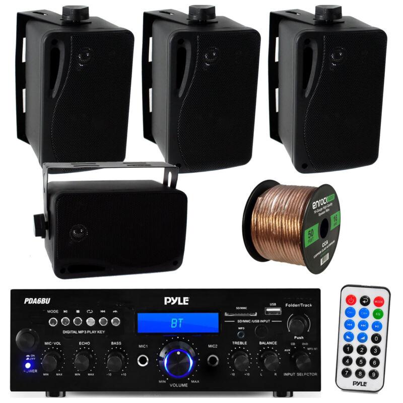 "Pyle Bluetooth USB Receiver, 4x Black 3.5""  Pyle Mini Box Speakers + Wiring"