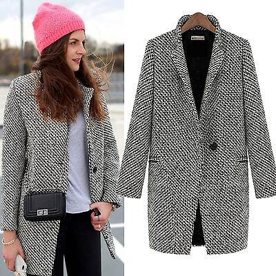 Damen Revers Jacke Wollmantel Parka Winterjacke Lange Trenchcoat Warm  Mantel Lange Trenchcoat