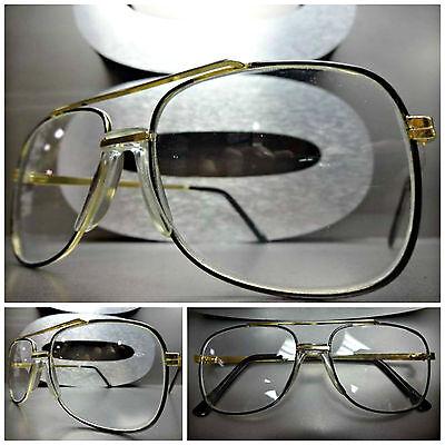 7495a43bb7 Mens Women VINTAGE RETRO CLASSIC Clear Lens FASHION EYE GLASSES Small Gold  Frame