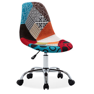 Armless Mid-back Task Office Chair Height Adjustable Swivel Linen Multi Color