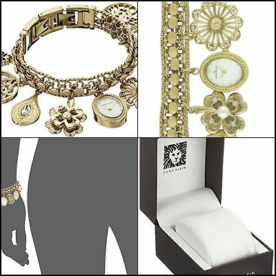 Anne Klein Womens Swarovski Crystal Accented Gold-Tone Charm Bracelet Watch Gift