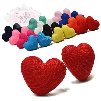(Large Fabric Love Heart Stud Earrings. Retro, Kitsch Disco Style Fashion)