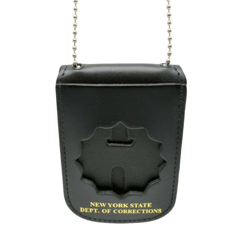 NYDOC Leather Neck Badge and ID Holder with Chain NY Dept of Corrections DOCCS