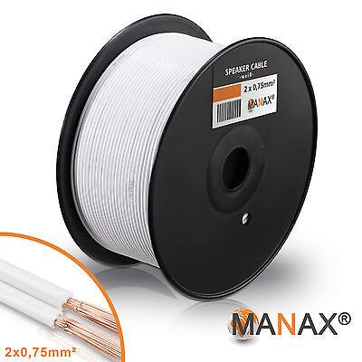 100m Zwillingslitze 2x 0,75mm² Lautsprecherkabel Boxenkabel weiß