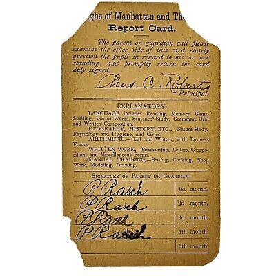 Brooklyn New York Student Report Card PS 25 School Antique 1907