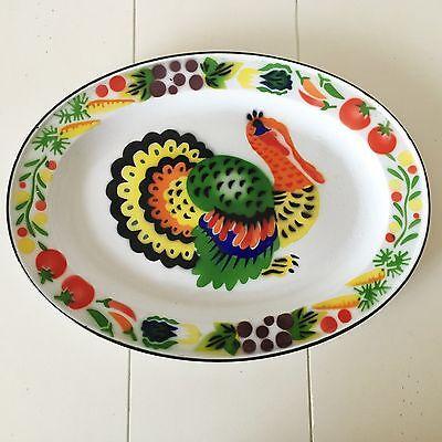 Lg OVAL ENAMEL TURKEY serving PLATTER Tray vintage THANKSGIVING 13 1/4 x 17 3/4