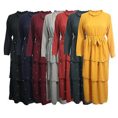 Womens Ladies Jilbab Abaya Pearl Belted Cocktail Maxi Dress Frill Front Dubai