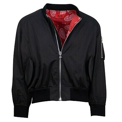 NWT 424 Black/ Red Reversible Paisley Bomber Jacket Size S $910