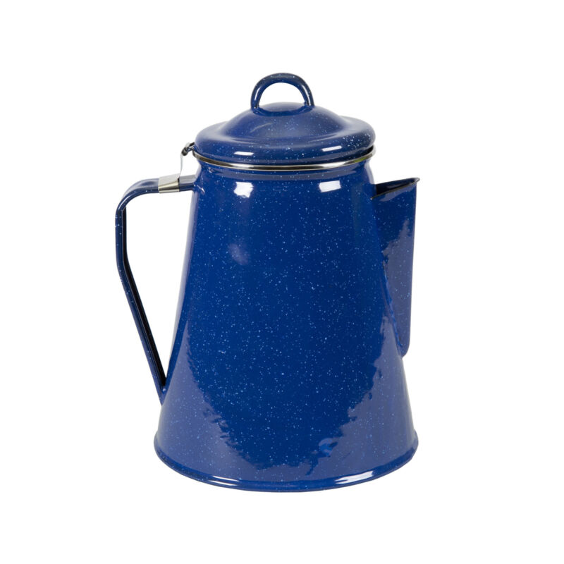 STANSPORT 8 CUP ENAMEL PERCOLATOR COFFEE POT STAINLESS STEEL CAMPING OUTDOOR NEW