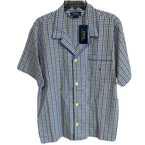 Polo Ralph Lauren Woven Pajama S/S Top Shirt XL Plaid Green Purple Sleepwear Clothing, Shoes & Accessories