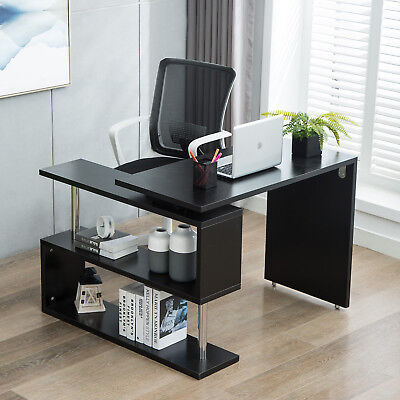 360° L-Shaped Rotating Corner Computer Desk and Storage Shelf Combo Home Office ()