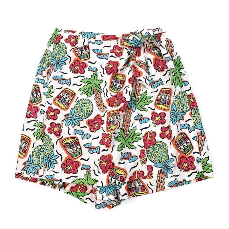 Vtg DOCKERS Womens Skort Shorts Tie Waist Printed Tiki Tropical Pineapple Sz M