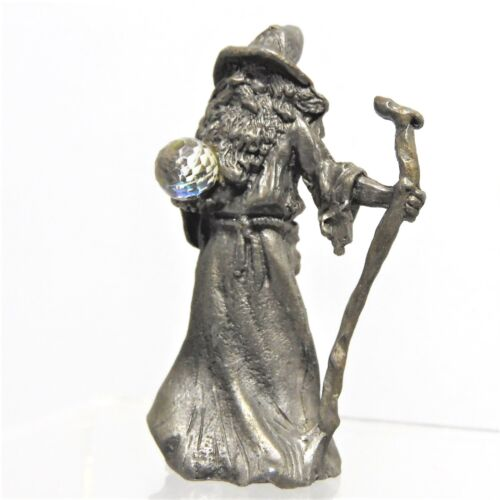 Vintage Fantasy /& Magic Sunglo Pewter Jeweled Wizard with Staff /& Crystal Ball