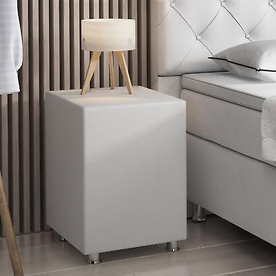 Nachttisch-hocker (Nachtkonsole Nachttisch Hocker Kara Würfel Cube Sitzhocker weiß 40x40x60 cm)