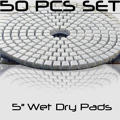 Diamond Polishing Pads 5 Inch Wet Dry Set For Granite Concrete Marble 50 Piece