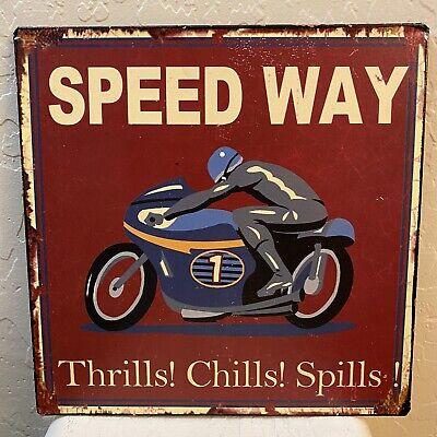 """METAL MAN CAVE GARAGE SIGN 9.5""""x 9.5"""" MOTORCYCLE SPEEDWAY THRILLS CHILLS SPILLS"""