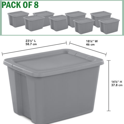 8 Plastic Storage Containers Box Sterilite 18-Gallon