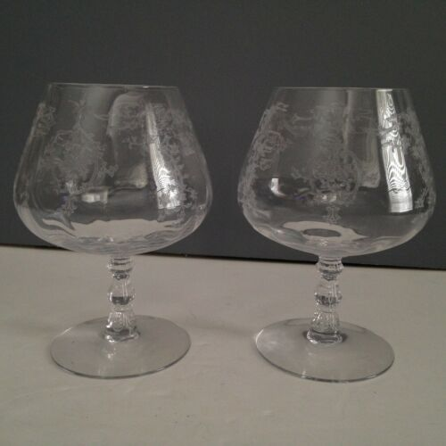 Set of Two Fostoria Navarre Clear Brandy Snifter Glass 5 5/8 inches