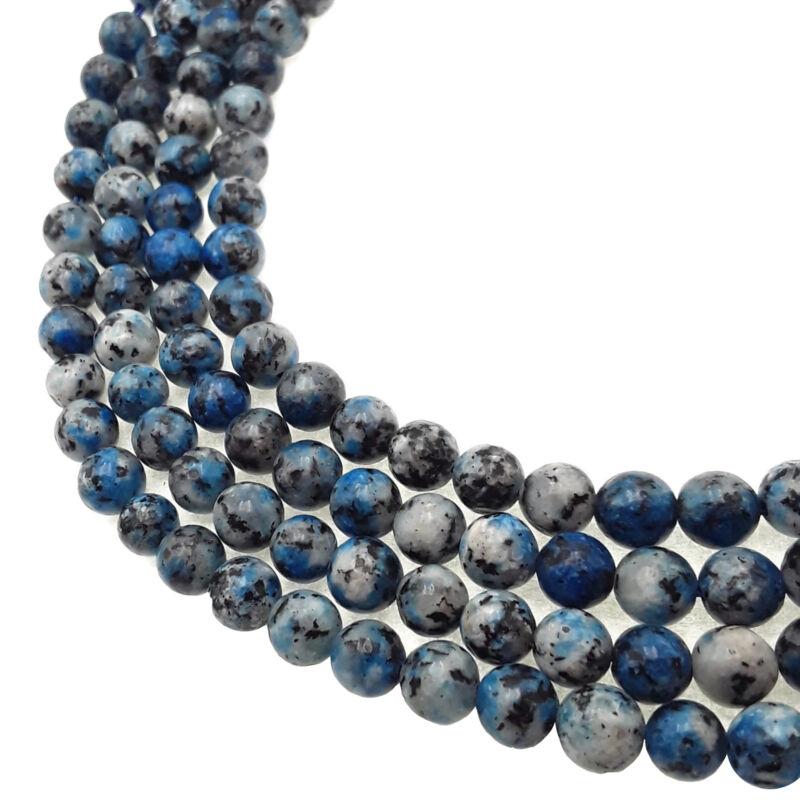 "Dark K2 Jasper Smooth Round Beads 6mm 8mm 15.5"" Strand"