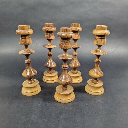 Olive Wood Vase Candle Holders Lot of 5 Hand Carved Vintage