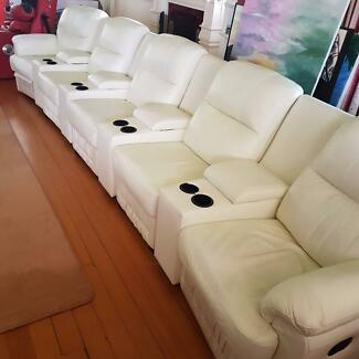 5 Seater Theatre Leather Lounge