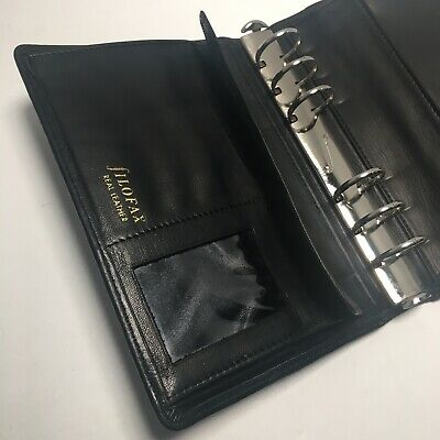 Filofax Personal Leather Planner Organizer Pockets Black