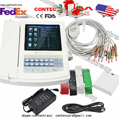 Us Stock Digital 12 Channel 12-lead Ecgekg Machine Electrocardiograph Fdatouch