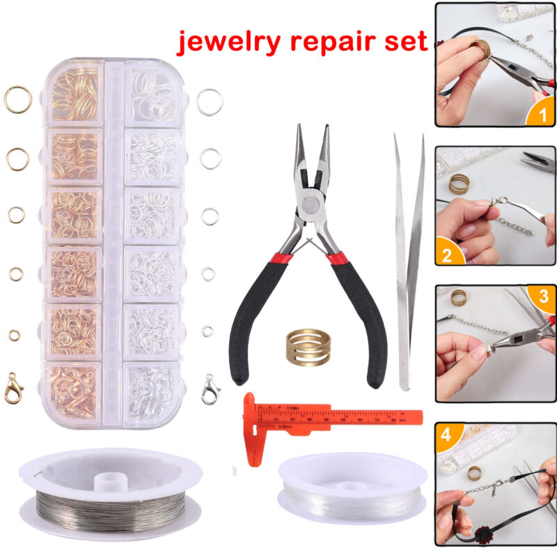 Jewellery Making Repairing Kit Gold & Silver Open Jump Rings Wire Starter Tools
