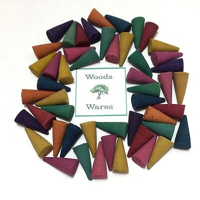 50 x  INCENSE CONES - MIX of 10 Fragrances - Colourful Exotic Large Loose Indian