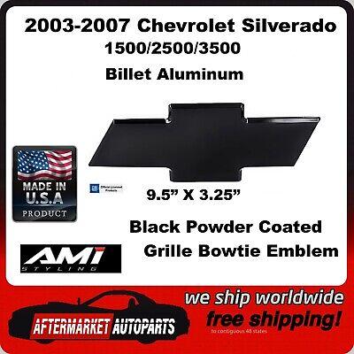 03-07 Chevrolet Silverado 1500 Black Powder Coat Bowtie Grille Emblem AMI 96183K
