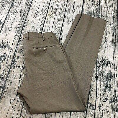 Slowear Incotex Dress Pants Size 33 (32x32) 100% Wool Beige Brown Trousers FLAW