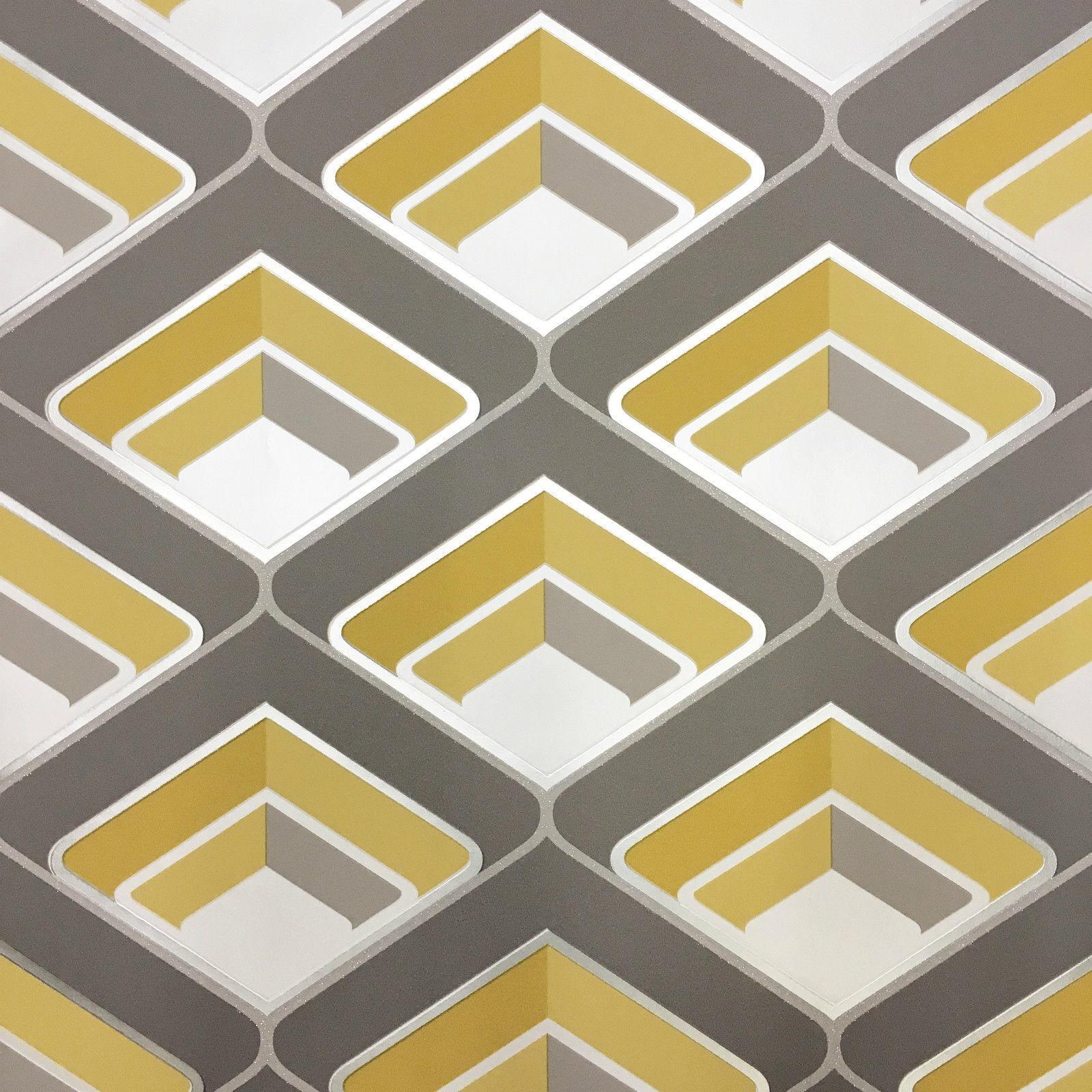 grandeco geo in yellow geometric 3d effect retro. Black Bedroom Furniture Sets. Home Design Ideas