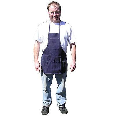 Hawk Ad015 - Denim Blue 3 Pocket Bib Apron Metal Wood Working Barbecuing Shop
