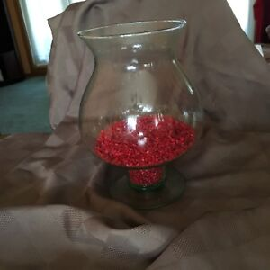 Green Vase with red gravel, great for Xmas decor