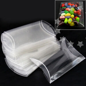 25pcs Clear Candy Box PVC Pillow Style Chocolate Sweet Wedding Party Favor Box