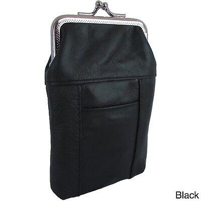 (Black Genuine Cowhide Leather Cigarette Pack Holder Pouch Case W/ Lighter Pocket)