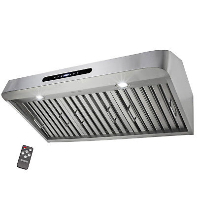 """36"""" Under Cabinet Brushed Stainless Steel Touch Panel Kitchen Range Hood Cooking"""
