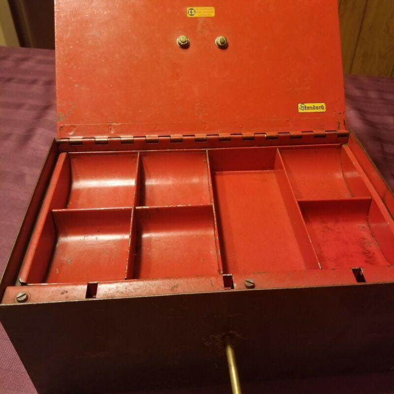 Antique locking cashbox J SCH WIEN skeleton key Germany 9lbs steel