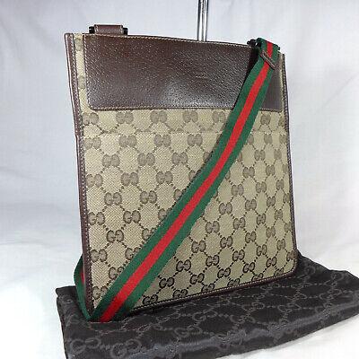 Authentic Vintage Gucci Brown GG Canvas Crossbody Messenger Shoulder Bag Ex Con