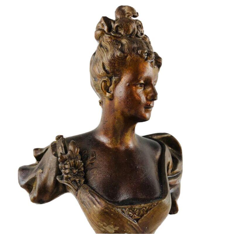 Antique Vintage Art Nouveau Cast Metal Victorian Female Bust Figurine Statue