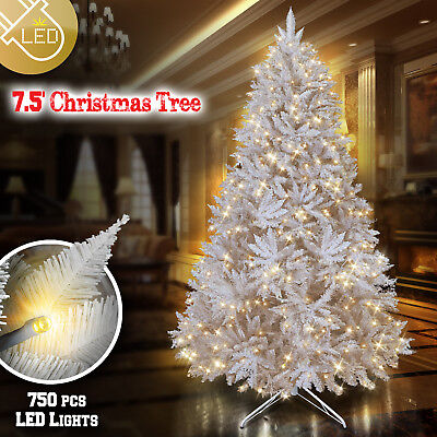 Deluxe Artificial Pre-lit White Christmas 7.5ft Tree 750 Lights 2514 Branch Tips ()