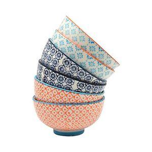 Patterned Porcelain Rice / Dessert Bowls, 6 Individual Designs - 114mm
